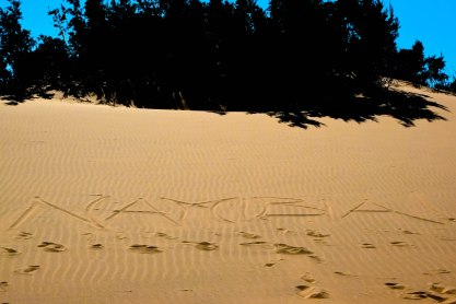 """""""Namibia!"""" written in the Hoanib desert, Skeleton Coast (just before I found the porcupine quill!)"""