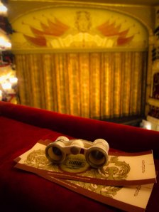 Curtain and opera glasses at Moscow's Bolshoi Theater