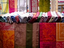 Colorful scarves at Izmailovsky Market, the largest flea market in Moscow