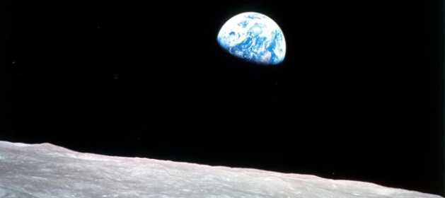 "Apollo 8, the first manned mission to the moon, entered lunar orbit on Christmas Eve, Dec. 24, 1968. That evening, the astronauts-Commander Frank Borman, Command Module Pilot Jim Lovell, and Lunar Module Pilot William Anders-held a live broadcast from lunar orbit, in which they showed pictures of the Earth and moon as seen from their spacecraft. Said Lovell, ""The vast loneliness is awe-inspiring and it makes you realize just what you have back there on Earth."" They ended the broadcast with the crew taking turns reading from the book of Genesis. Image Credit: NASA"