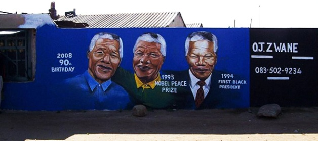 Mural of Mandela in Soweto, Johannesburg, South Africa (courtesy of Wikimedia)