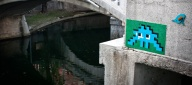The art of Space Invader on The Triple Bridge in Ljubljana, Slovenia