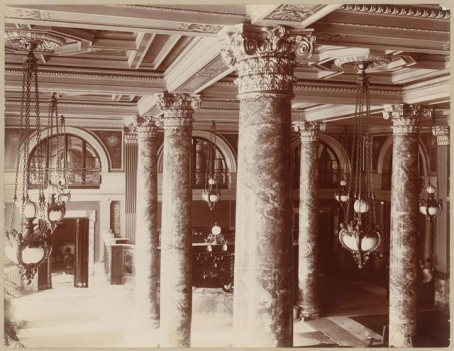 The Willard Hotel lobby viewed from a balcony, c. 1904 | Photo by  Frances Benjamin Johnston, courtesy LOC image collection