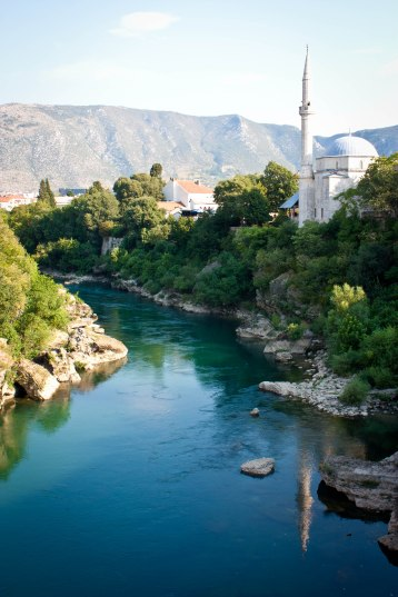 Overlooking river Neretva in Mostar, Bosnia
