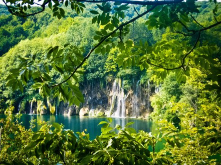Waterfall at Plitvice Lakes in central Dalmatia