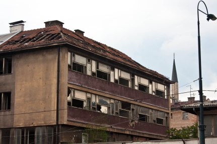 A building destroyed during the War of Bosnia in the 1990s