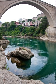 Neretva river and the old bridge in Mostar