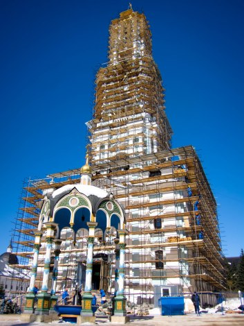 The Holy Trinity Monastery in Sergiev Posad, Russia -- under restoration in 2013