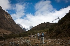 Beginning the Salcantay route to Machu Picchu, Peruvian Andes
