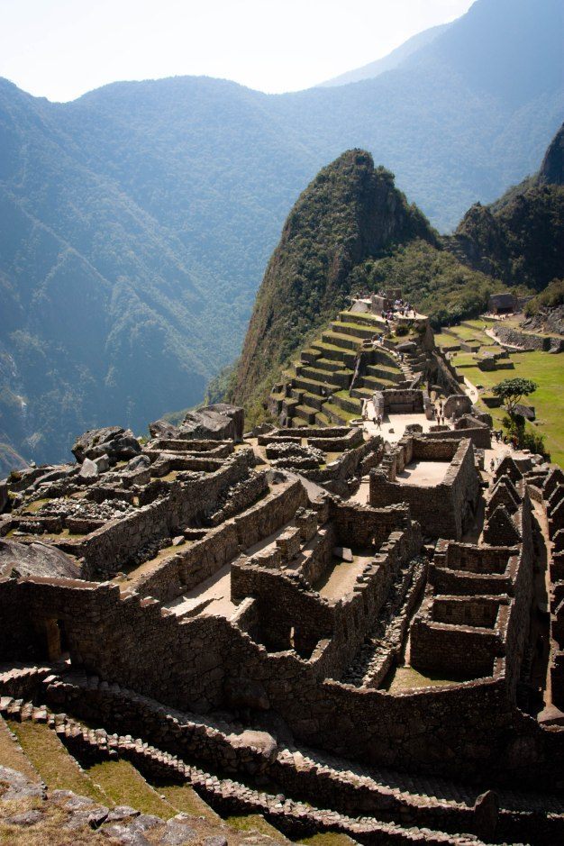 "The ancient Inca city, Machu Picchu. The small peak in the background is called ""Wayna Pikchu"" -- if you are afraid of heights, don't climb it. :/"