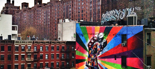 Eduardo Kobra's mural from High Line depicting famous photograph 'V-J Day in Times Square' c. August 14, 1945.
