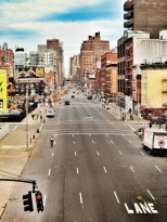 Saturday morning street in Manhattan