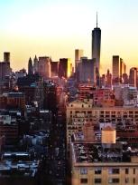 New York City skyline and dusk