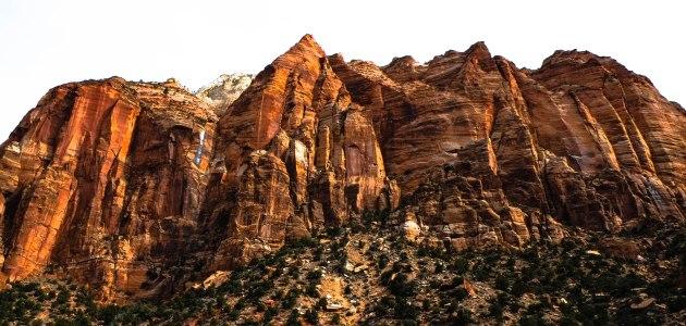 Towering red rocks at Utah's Zion National Park
