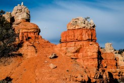 A drone whistles across the red rocks at Dixie
