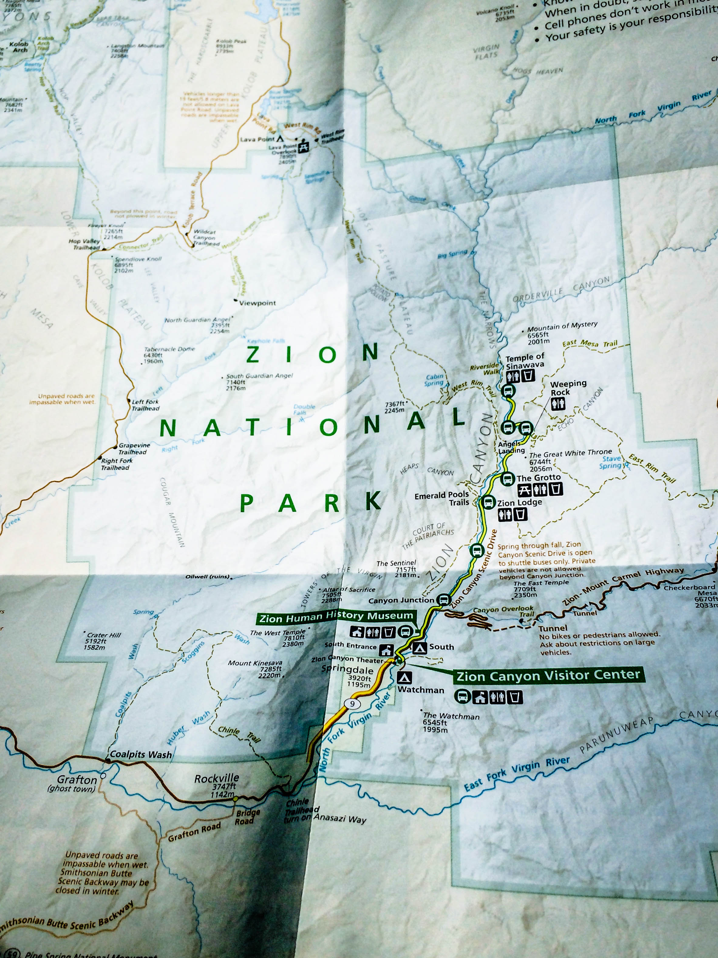 Map Of Zion National Park