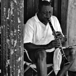 Street performer plays the clarinet in NOLA