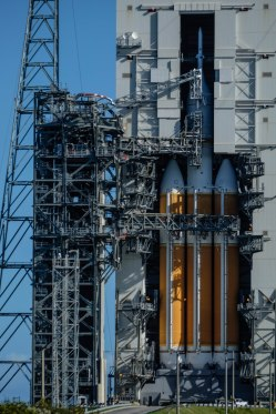 Close up detail of the Orion spacecraft atop a Delta IV Heavy rocket at Air Fore Station Launch Complex 37 in Cape Canaveral, Florida