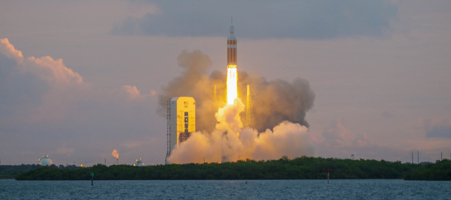 Dawn liftoff of NASA's Orion -- Exploration Flight Test-1 at Cape Canaveral in Florida -- photo credit Stefanie Payne