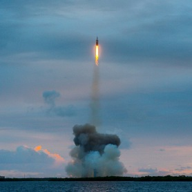 """There's your new spacecraft, America!"" NASA's Orion launches at dawn -- the dawn of a new era of space exploration -- from Cape Canaveral Air Force Station in Cape Canaveral. Photo credit: Jonathan Irish 
