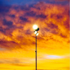 Flood lights not needed with the technicolor sunrise that came on the morning of the Orion launch in Cape Canaveral, Florida