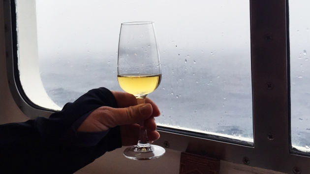 "Glass of ""Shackleton's"" replica scotch whisky from Nimrod Voyage"