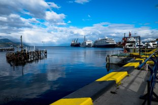 Ushuaia Cruise Port in southern Argentina on a clear day in summer