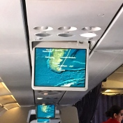 """Made it to the end of the world!"" Screen monitor in LAN airplane showing route to Ushuaia from BA"