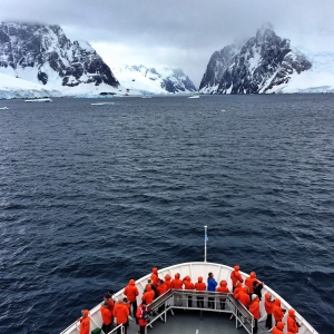 Travelers entering Antarctica on the Lindblad / National Geographic Explorer in February 2015