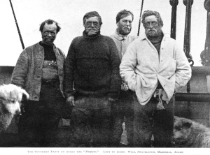The Antarctic Nimrod expedition team (left to right) Frank Wild, Ernest Shackleton, Eric Marshall and Jameson Adams.