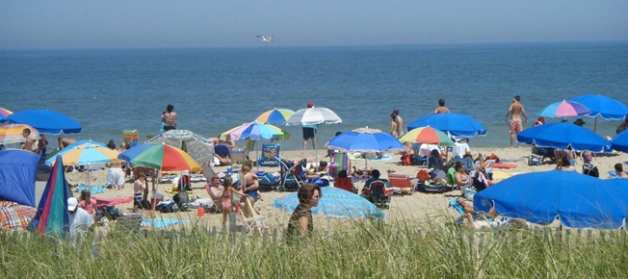 A typical summer day on Rehoboth Beach, Delaware: lots of sunning. (Credit: Wikimedia Commons)