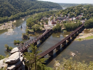 Aerial shot of the Shenandoah and Potomac River confluence at Harpers Ferry, West Virginia (Credit: Wikimedia Commons)