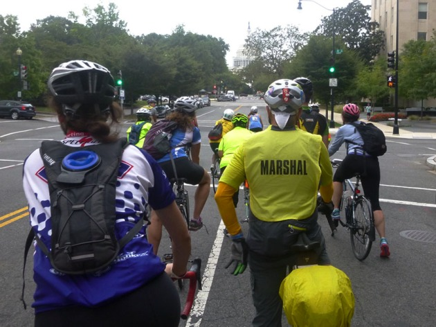 Ride marshals are placed all over the city to help steer riders in the right direction. Washington Area Bicyclist Association (WABA)