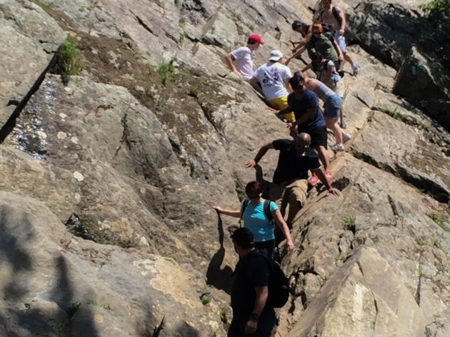 Hikers descend Trail A's most