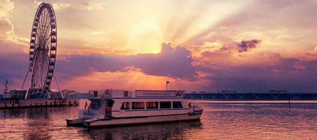 River cruise on DC's National Harbor at sunset (Credit: Potomac River Boat Company)