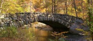 Boulder Bridge during autumn. Stop by the Nature Center and pick up a map before heading out on a hike through the Valley Trail. (Credit: Rock Creek Park)