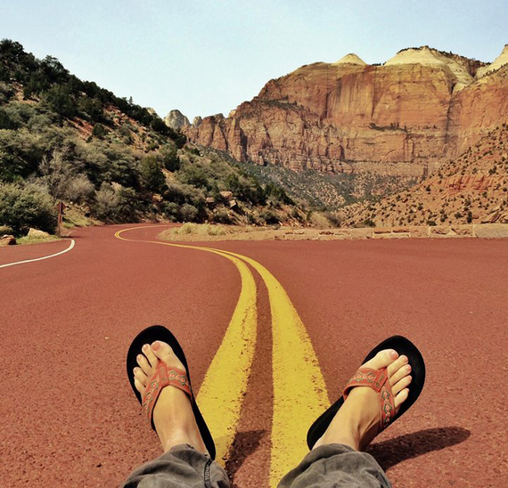 Kicking back Mt. Carmel Tunnel Road in Zion National Park in Utah. Credit: Stefanie Payne