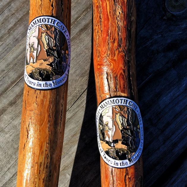 Hiking stick medallions from Mammoth Cave National Park. Image credit: Stefanie Payne