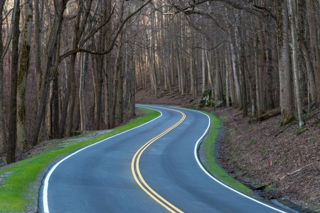 An empty byway through the heart of the Great Smoky Mountains National Park. Unreal. ...but not during off-season!