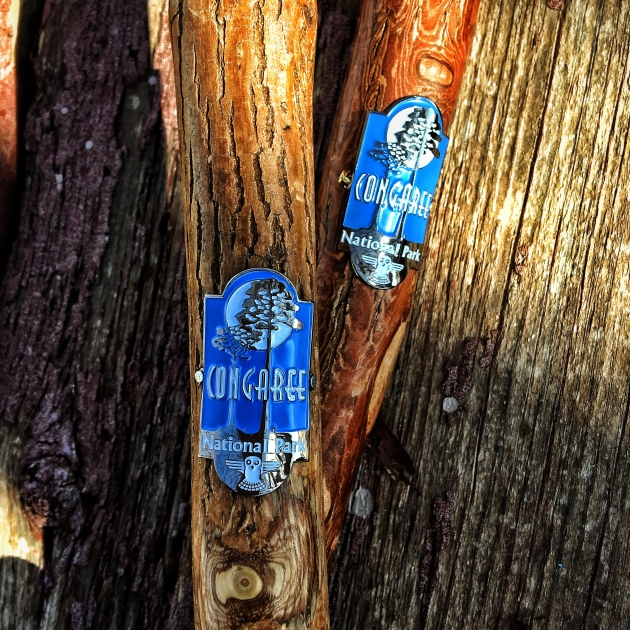 Hiking stick medallions from Congaree National Park.
