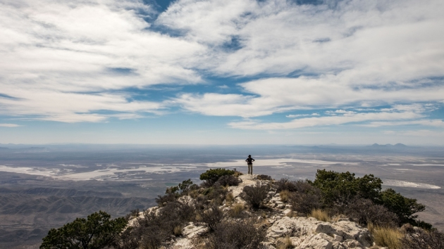 At the top of Guadalupe Mountain Peak in Guadalupe Mountains National Park -- the highest peak in Texas. Photo credit: Jonathan Irish