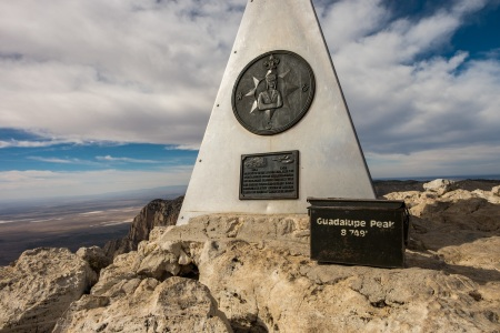 The trail registry at the top of Guadalupe Mountains National Park in Texas -- the highest peak in Texas!