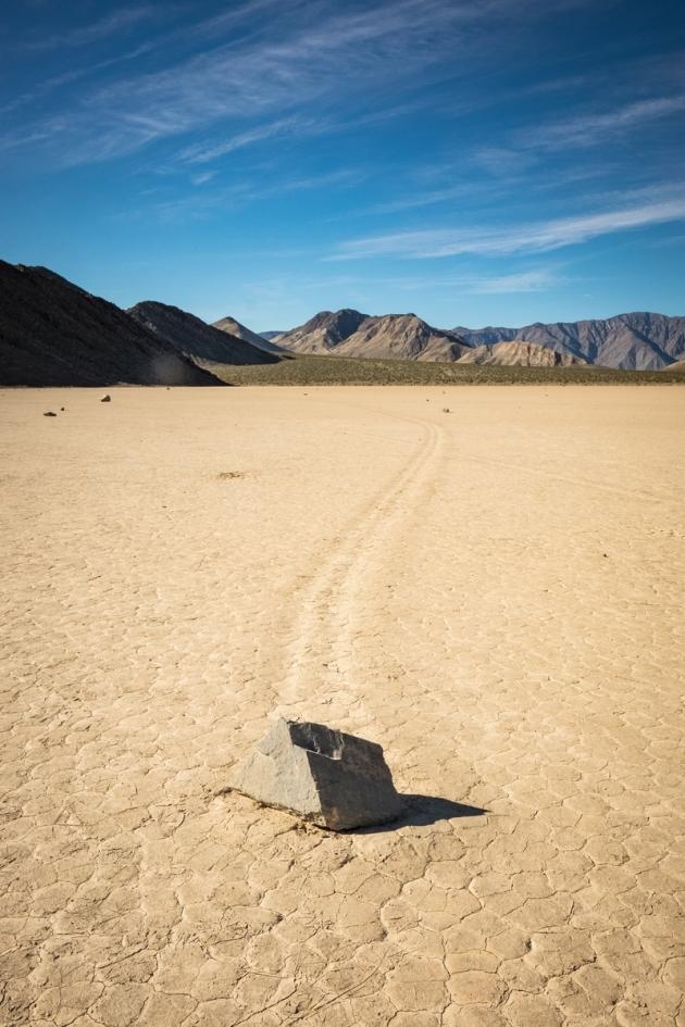 "A ""sailing stone"" lays still at The Racetrack at Death Valley.  Photo credit: Jonathan Irish"
